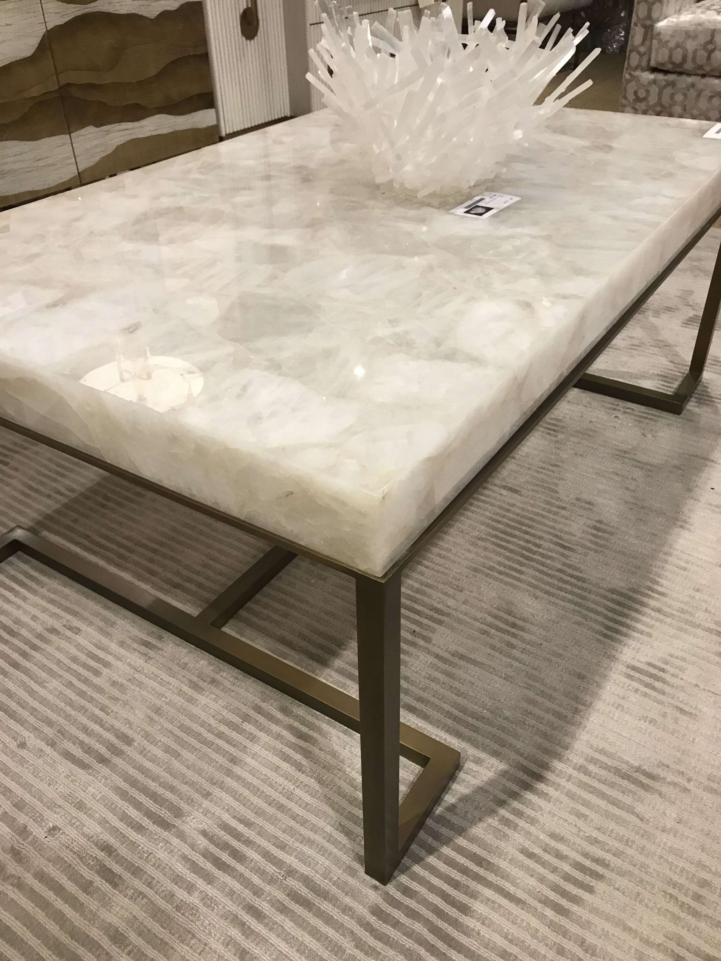 Coffee Tables : Skinny Coffee Table Marble Top Gold Drum White In Most Current Marble And Glass Coffee Table (View 3 of 20)