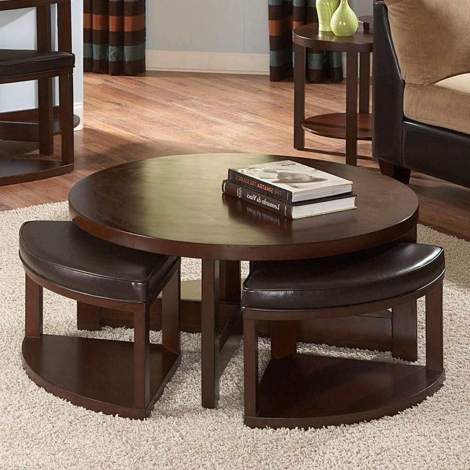 Coffee Tables : Small Round Coffee Table Barnwood Ottoman Seat Inside Fashionable Small Circular Coffee Table (View 17 of 20)
