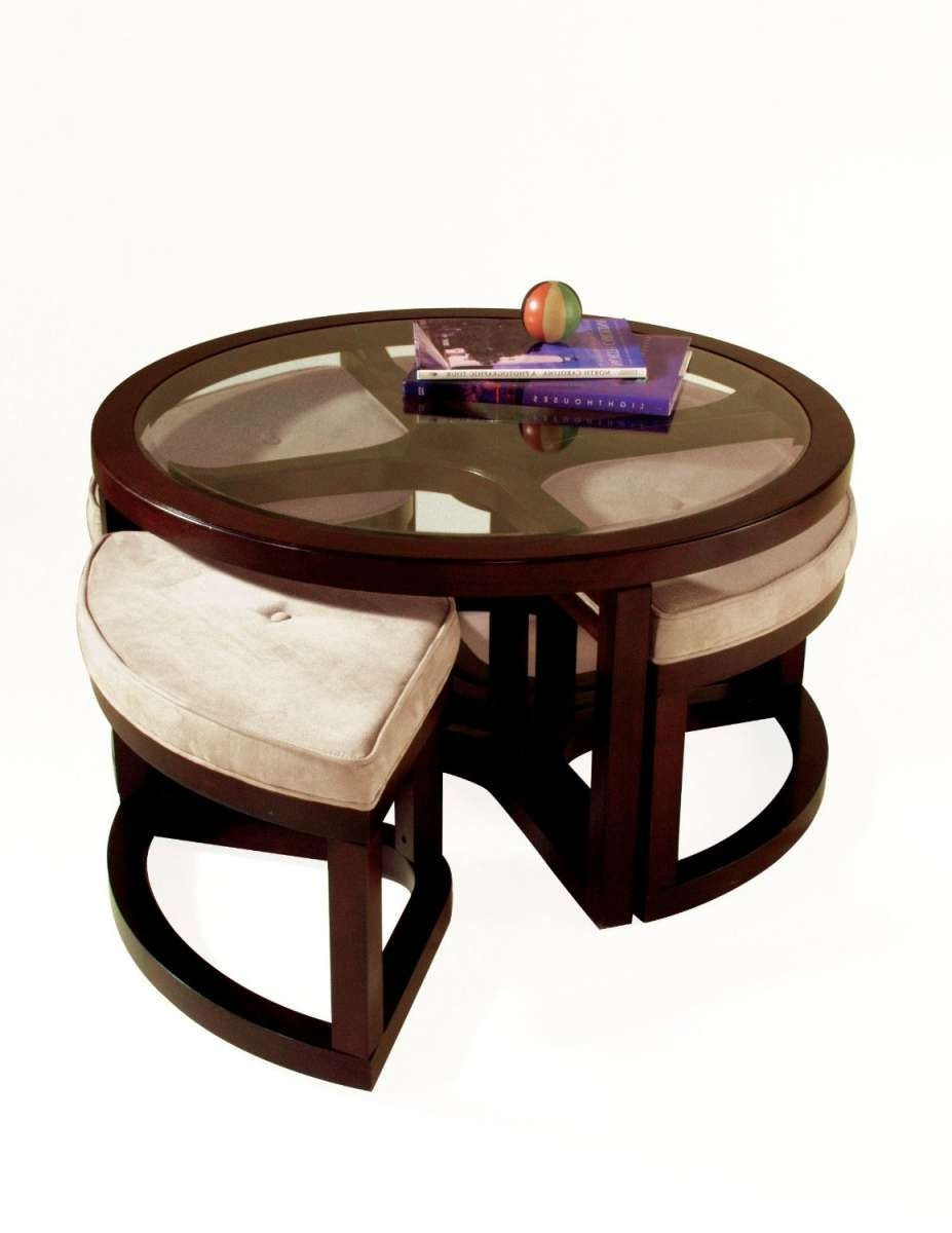 Coffee Tables : Small Round Coffee Table Ottoman Cocktail Throughout Favorite Round Coffee Tables With Drawers (View 15 of 20)