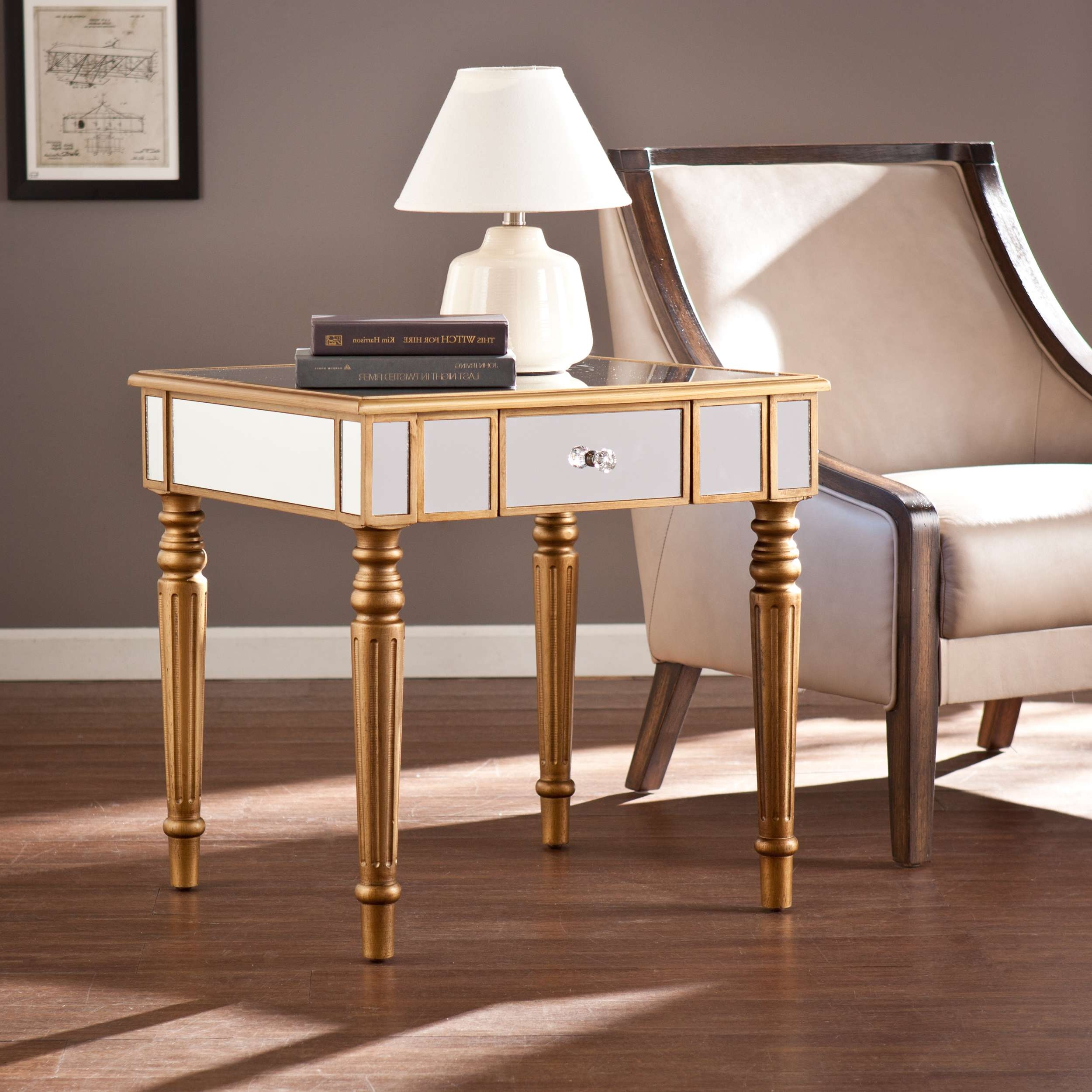 Coffee Tables : Small Round Mirrored Side Table Gold Mirror Top Intended For Trendy Small Mirrored Coffee Tables (View 5 of 20)