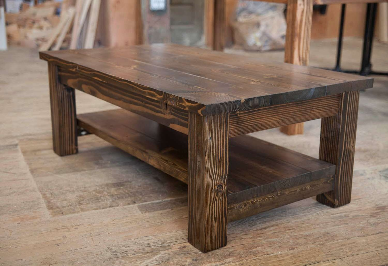 Coffee Tables : Solid Wood Coffee Table With Drawers Rustic Wooden Inside Well Known Extra Large Rustic Coffee Tables (View 3 of 20)