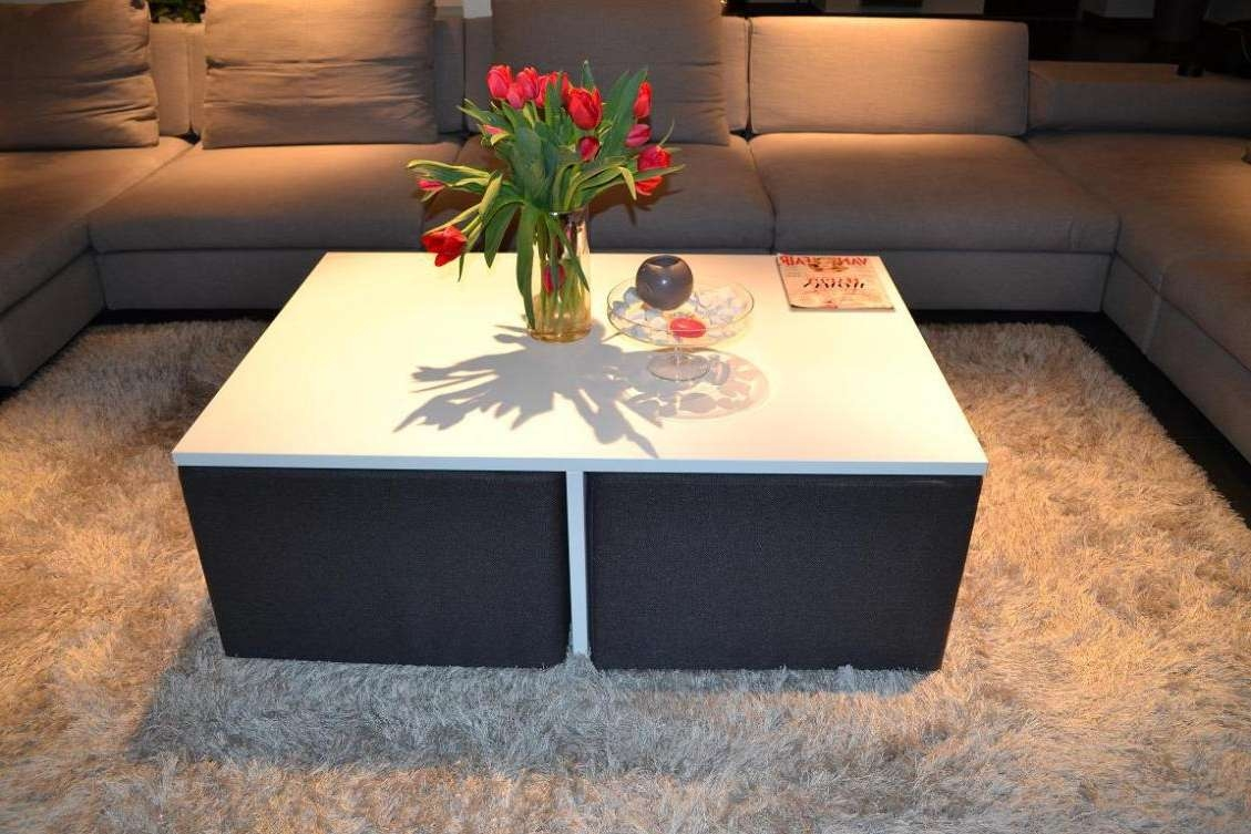 Coffee Tables : Square Coffee Table With Stools Underneath Round Throughout Trendy Coffee Tables With Nesting Stools (View 7 of 20)