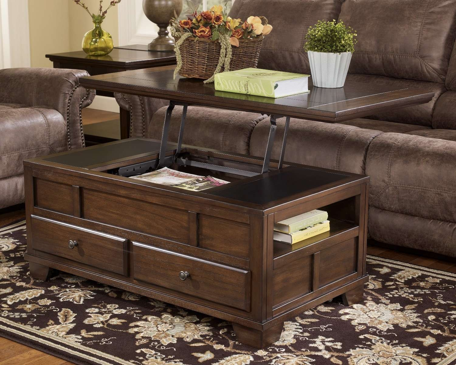 Coffee Tables : Storage Chest Coffee Table Trunks Design Ideas Regarding Most Recent Dark Wood Coffee Table Storages (View 4 of 10)