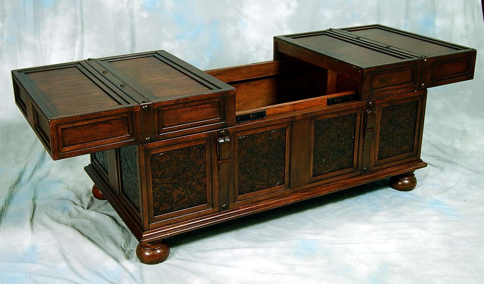 Coffee Tables : Storage Trunk Side Table Antique Wooden Coffee For Well Known Dark Wood Chest Coffee Tables (View 17 of 20)