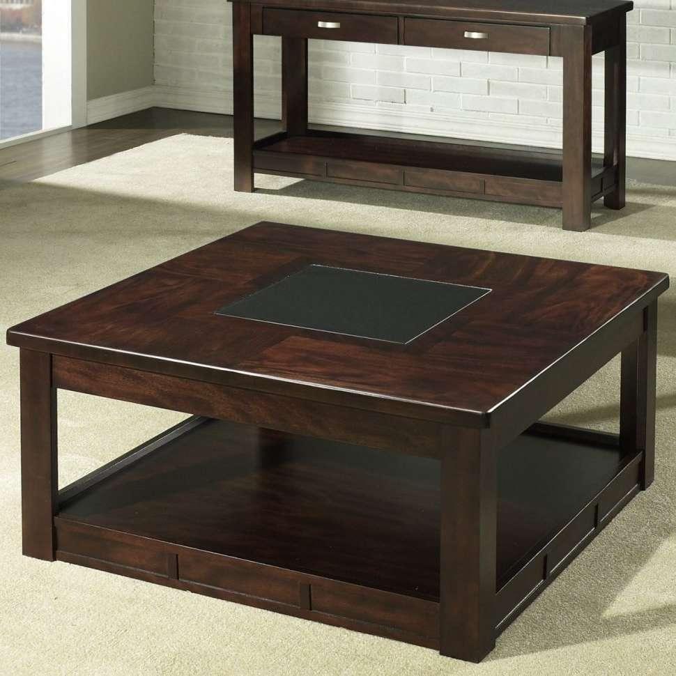Coffee Tables : Stunning Dark Brown Rustic Wood Square Coffee In Latest Square Coffee Tables (View 2 of 20)