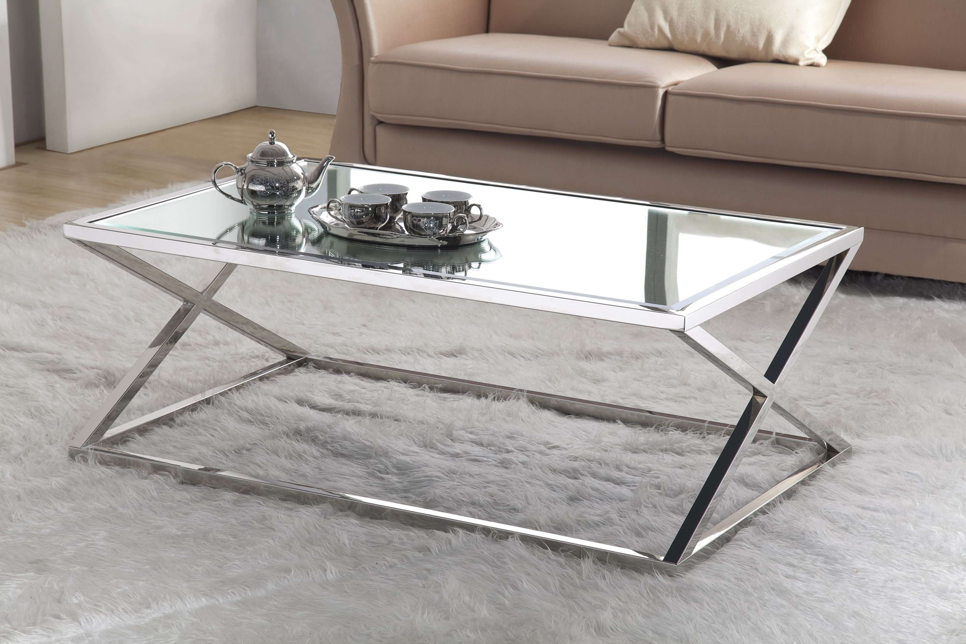 Coffee Tables : Table Tray Gold Glass Coffee Living Room Sets Inside Most Recently Released Rectangle Glass Chrome Coffee Tables (View 7 of 20)