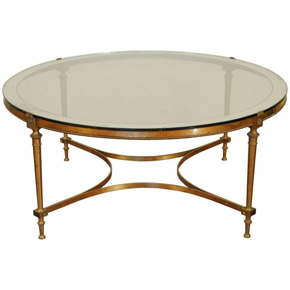 Coffee Tables : Vintage Brass And Glass Coffee Table Square Oval In Well Known Antique Brass Glass Coffee Tables (View 16 of 20)