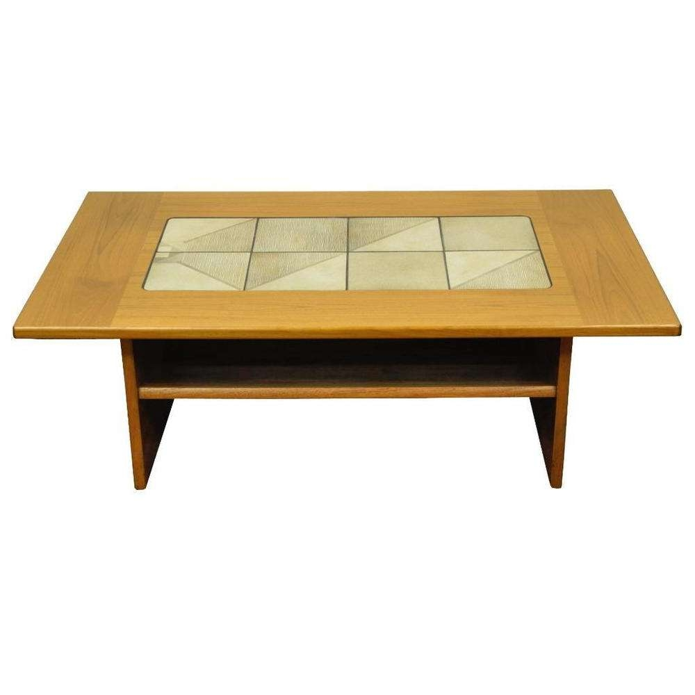 Coffee Tables : Vintage Mid Century Danish Modern Teak Tile Top Regarding Favorite Retro Teak Glass Coffee Tables (View 4 of 20)