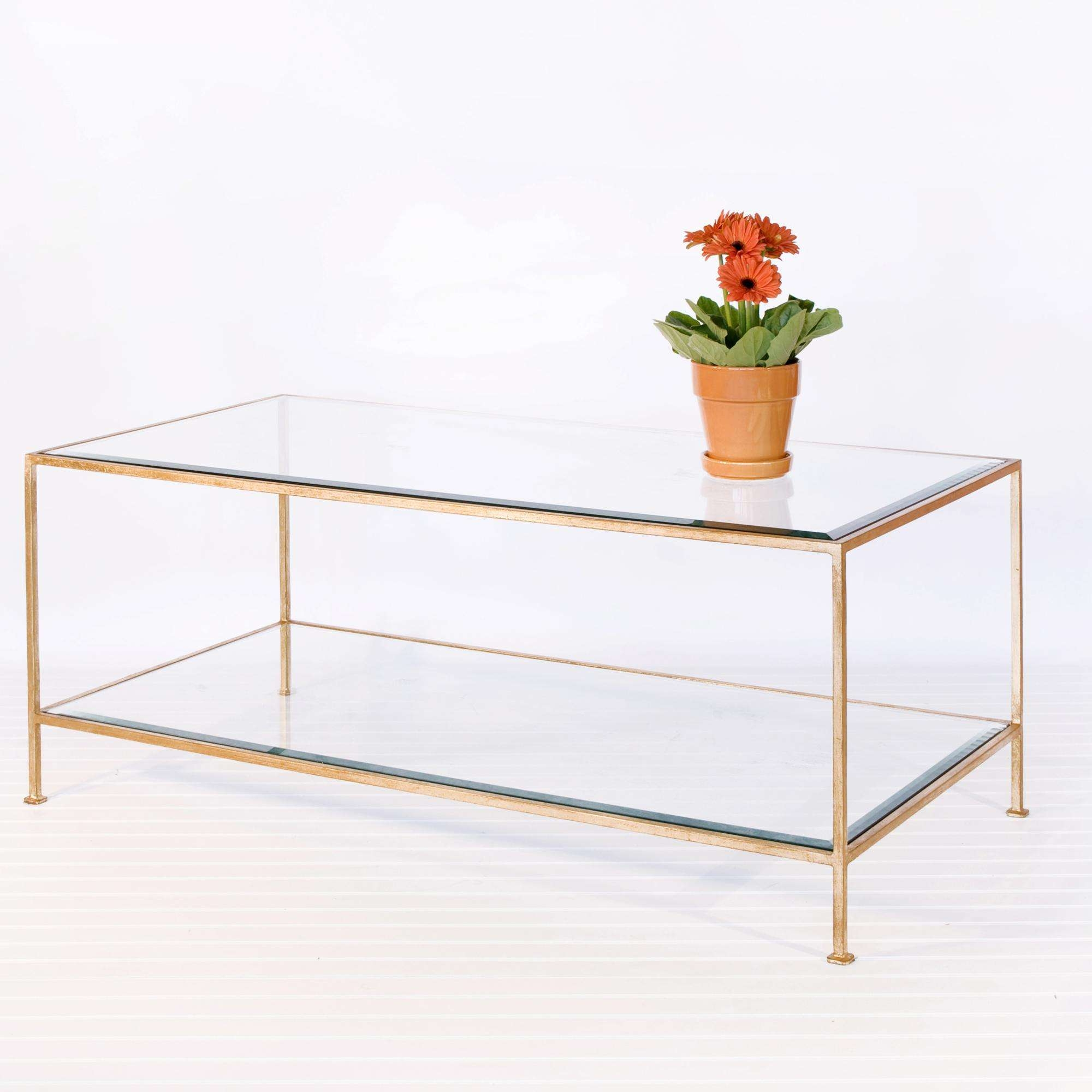 Coffee Tables : White And Wood Coffee Table Marble Gold Glass In Famous Glass Coffee Table With Shelf (View 7 of 20)