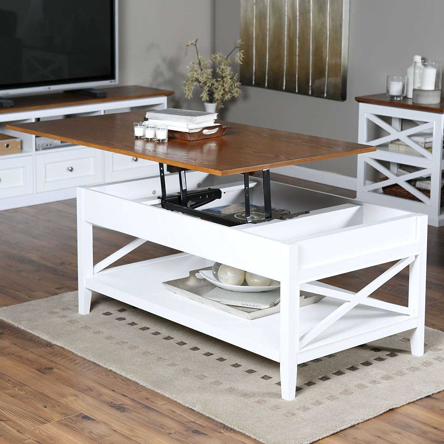 Coffee Tables : White Coffee Table Lift Top Round Glass Square For Fashionable Coffee Tables With Raisable Top (View 12 of 20)