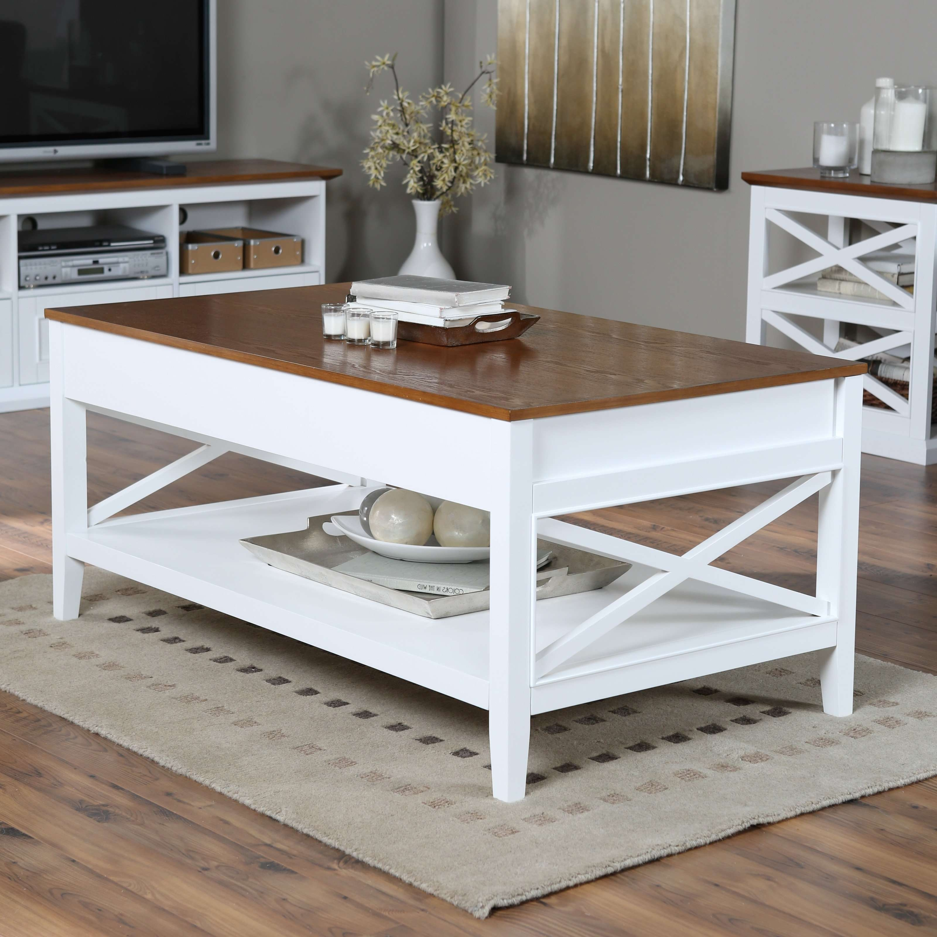 Coffee Tables : White Coffee Table Set Side Brass Stone Round Wood Throughout Widely Used White And Brown Coffee Tables (View 9 of 20)