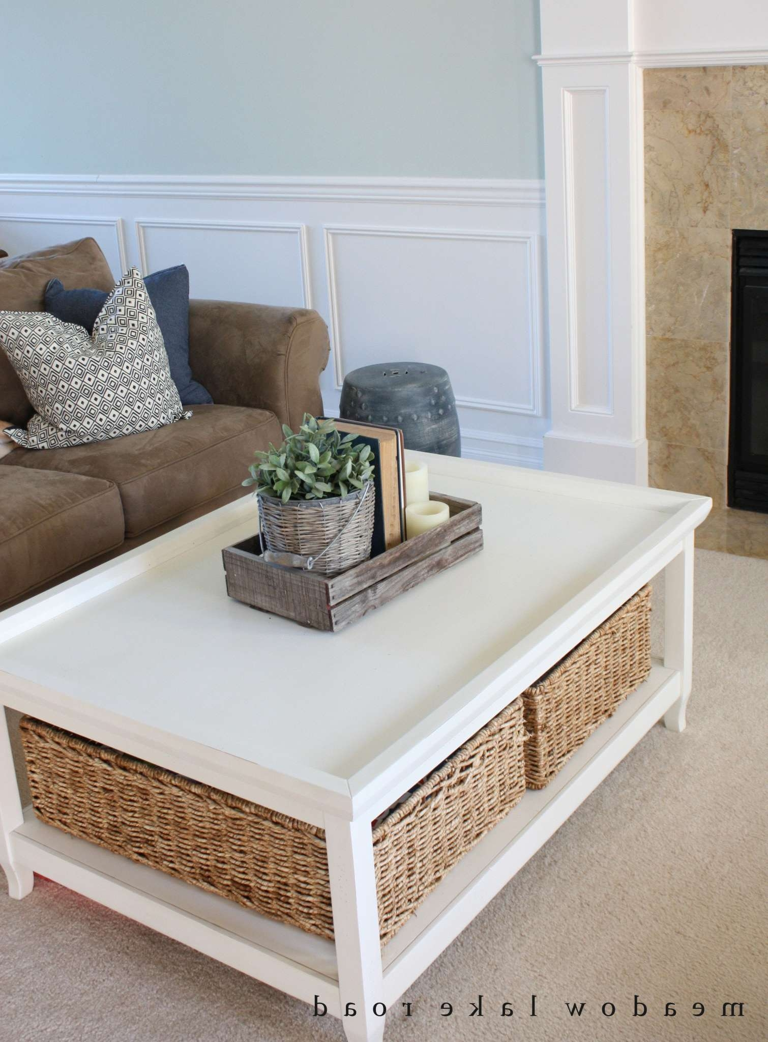 Coffee Tables : White Coffee Table With Storage White Glass Coffee With Regard To Latest Coffee Table With Wicker Basket Storage (View 9 of 20)