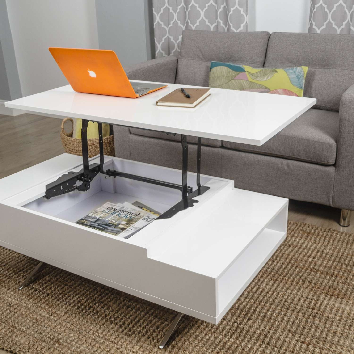 Coffee Tables : White Modern Lift Top Coffee Table Double Small Pertaining To Most Popular Logan Lift Top Coffee Tables (View 3 of 20)