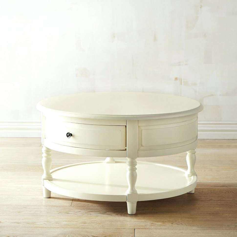 Coffee Tables : White Round Coffee Table Modern Ikea Chic Tables Within Most Up To Date Cream Coffee Tables With Drawers (View 18 of 20)