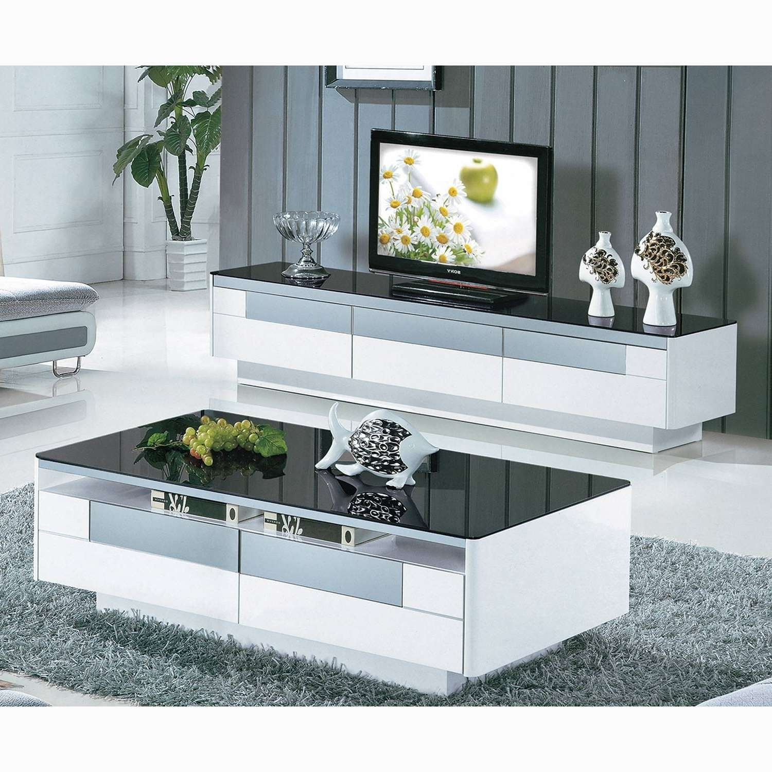 Coffee Tables : White Tv Stand And Coffee Table Set Wood Oak Within Best And Newest Matching Tv Unit And Coffee Tables (View 5 of 20)