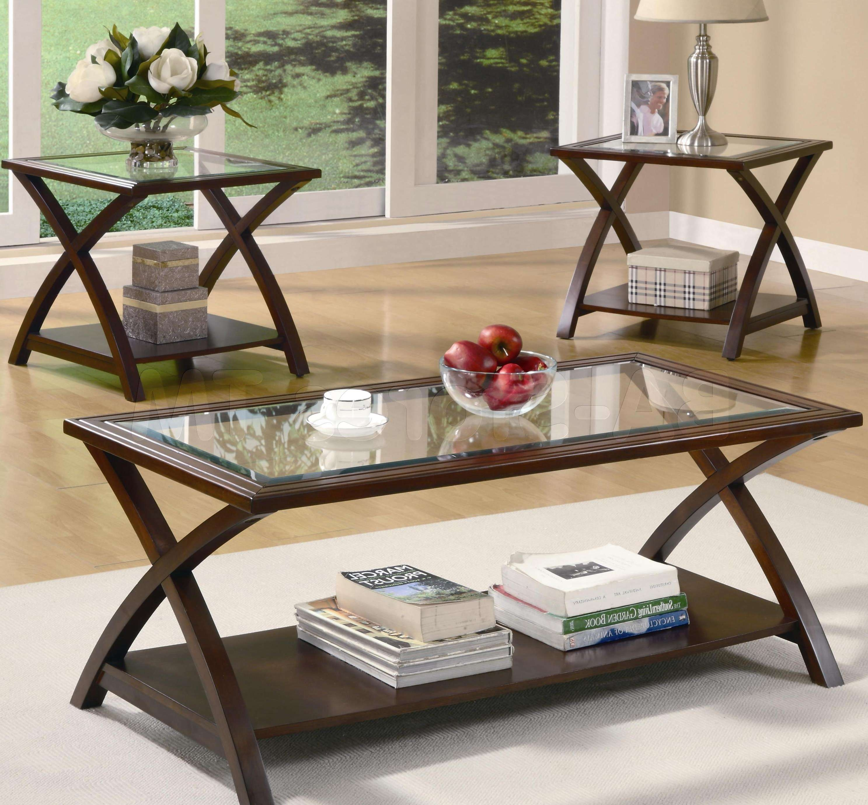 Coffee Tables : White Wood Coffee Table Occasional Set Glass Small Regarding Most Current Coffee Tables And Side Table Sets (View 4 of 20)