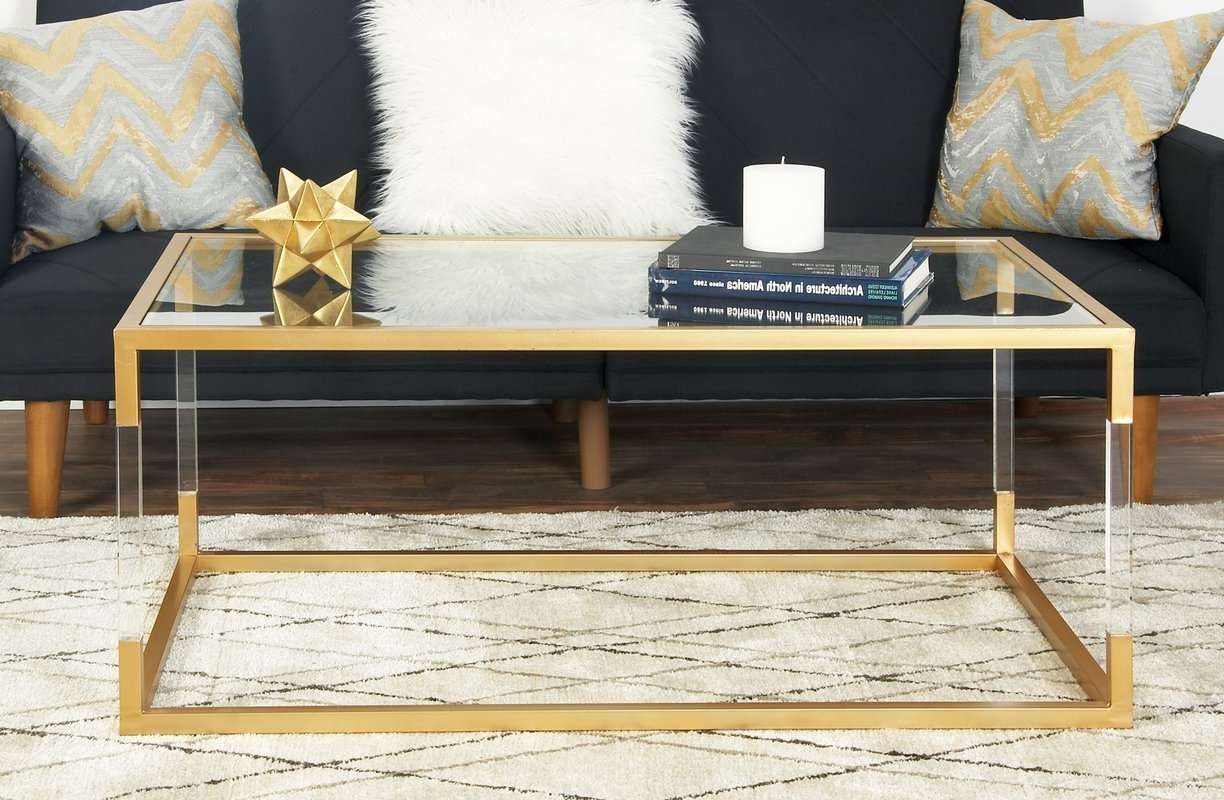 Cole & Grey Metal And Glass Acrylic Coffee Table & Reviews (View 6 of 20)