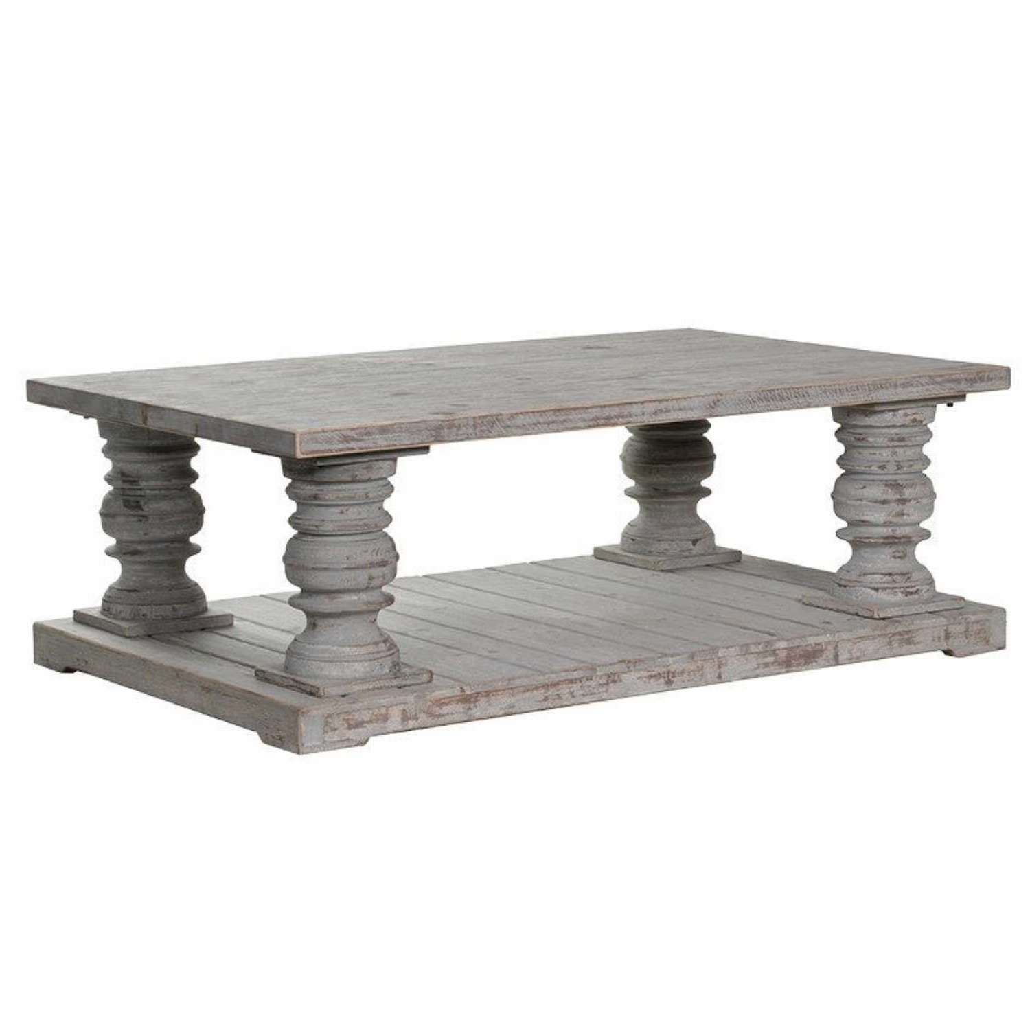 Colonial Style Distressed Chunky Wooden Coffee Table For Well Known Chunky Wood Coffee Tables (View 5 of 20)