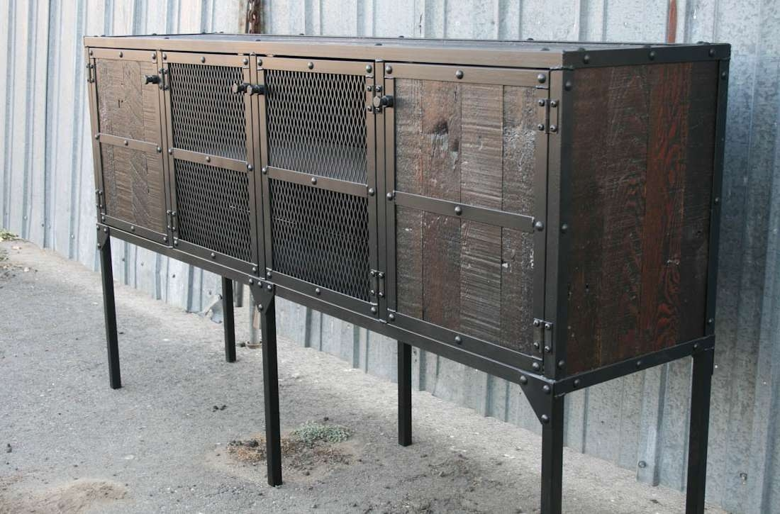 Combine 9 | Industrial Furniture – Tall Leg Reclaimed Wood Buffet Intended For Reclaimed Sideboards (View 4 of 20)