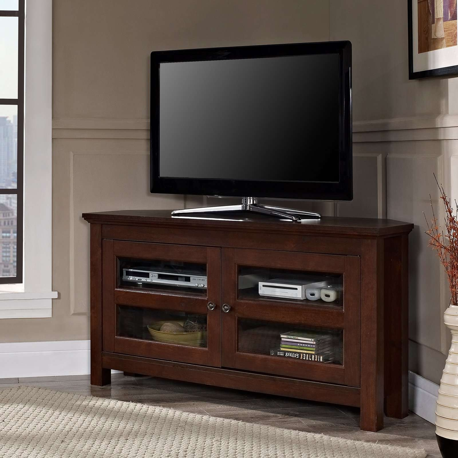 Compton Black Corner Tv Stand | Hayneedle Regarding Black Corner Tv Cabinets (View 4 of 20)