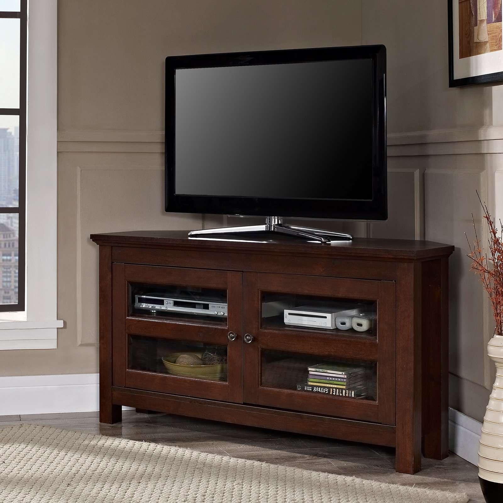 Compton Black Corner Tv Stand | Hayneedle Regarding Black Corner Tv Cabinets (View 7 of 20)