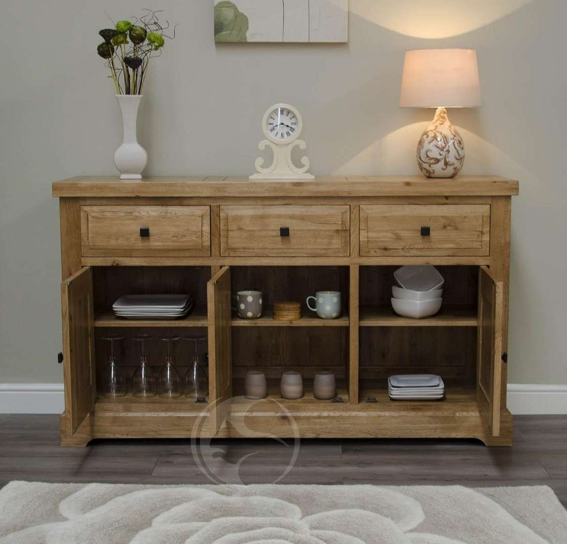 Coniston Rustic Solid Oak Large Sideboard | Oak Furniture Uk Inside Rustic Oak Large Sideboards (View 3 of 20)