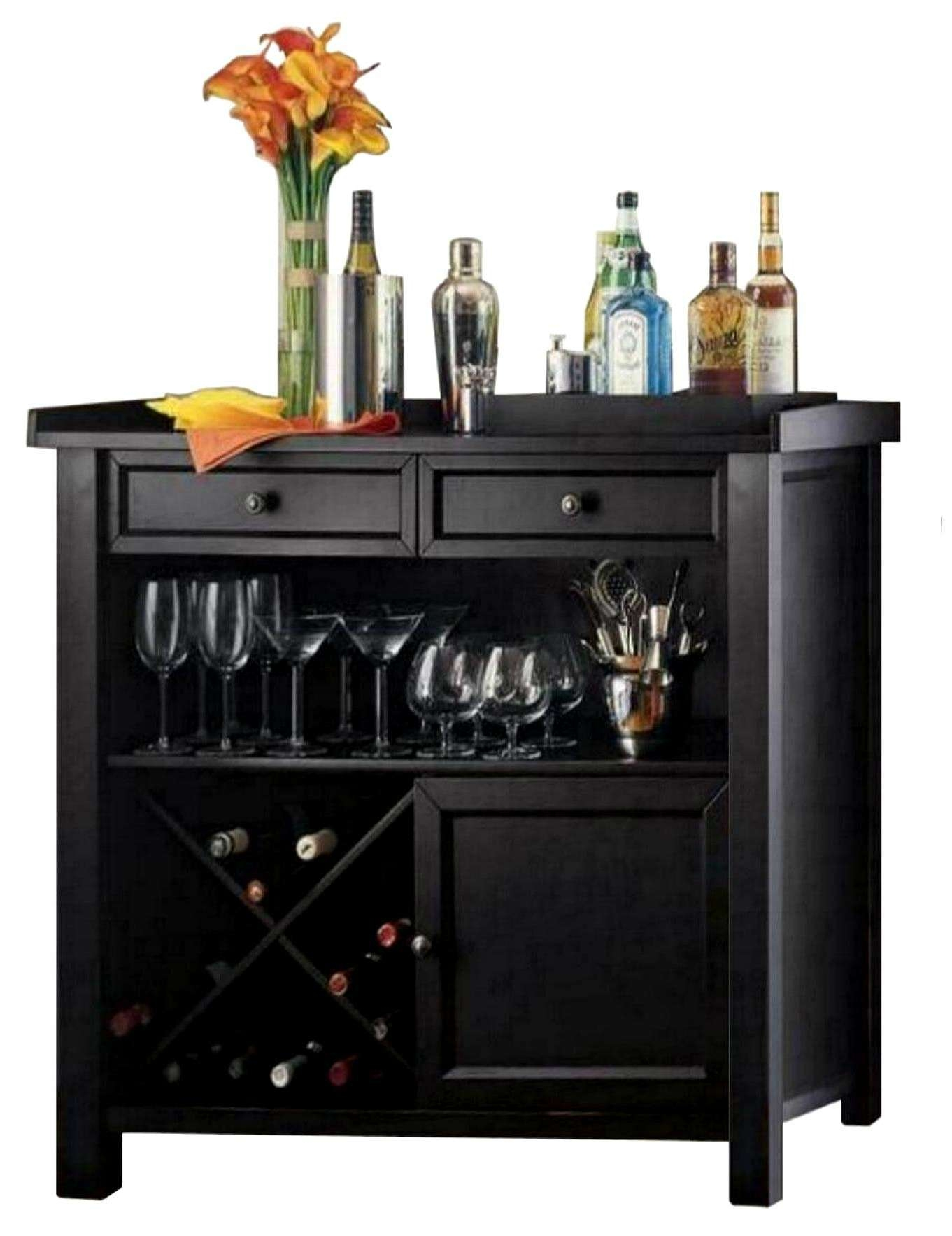 Console Tables : Black Buffet Cabinet Hutch Wooden Wine Storage With Bar Sideboards (View 5 of 20)