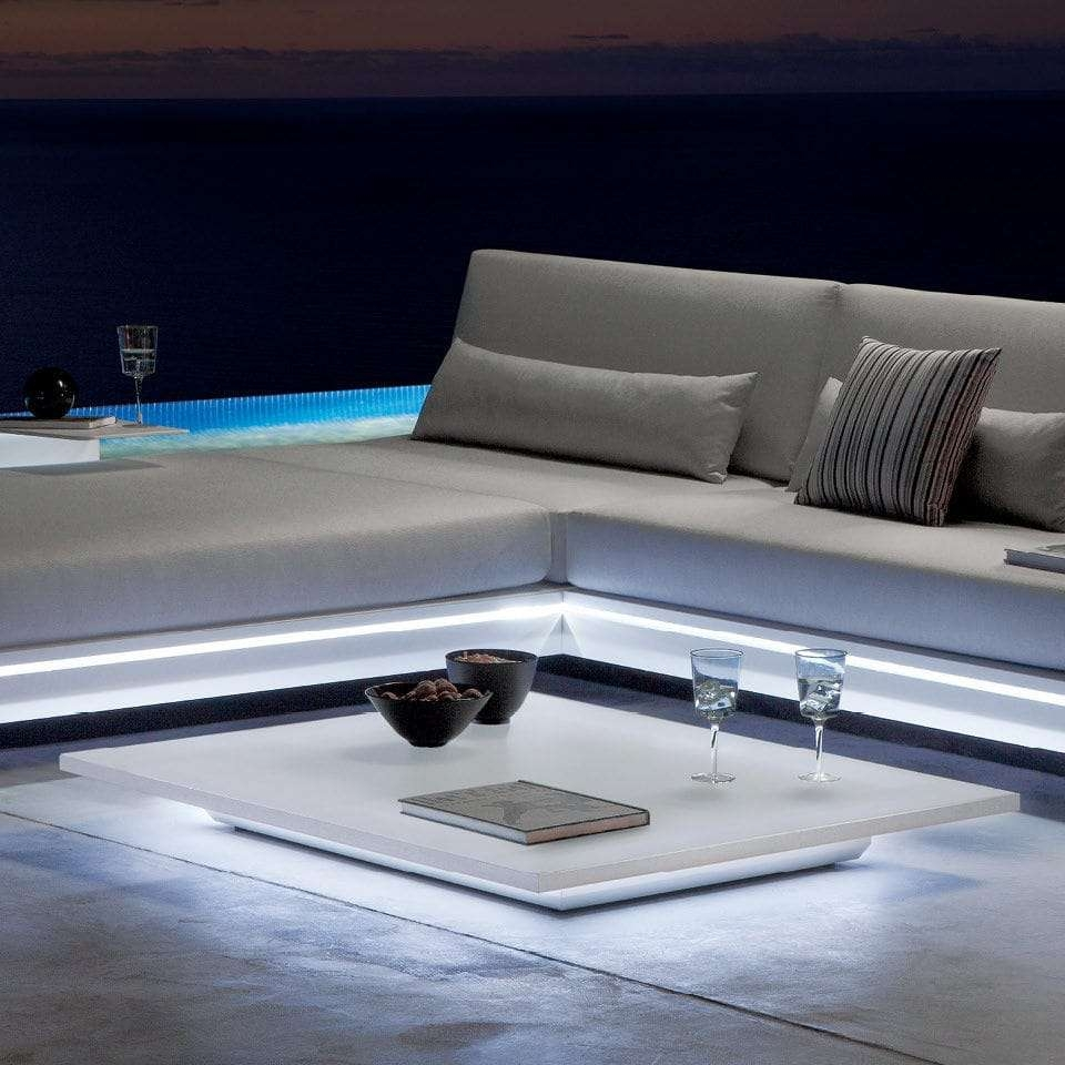 Contemporary Coffee Table / Glass / Aluminum / Hpl – Luna – Manutti Intended For Fashionable Luna Coffee Tables (View 18 of 20)