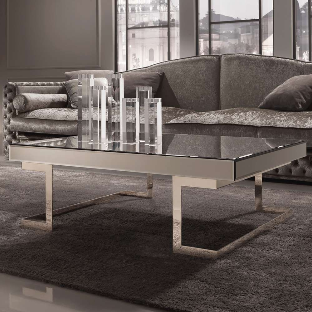 Contemporary Designer Italian Mirrored Glass Coffee Table For Best And Newest Mirror Glass Coffee Table (View 5 of 20)