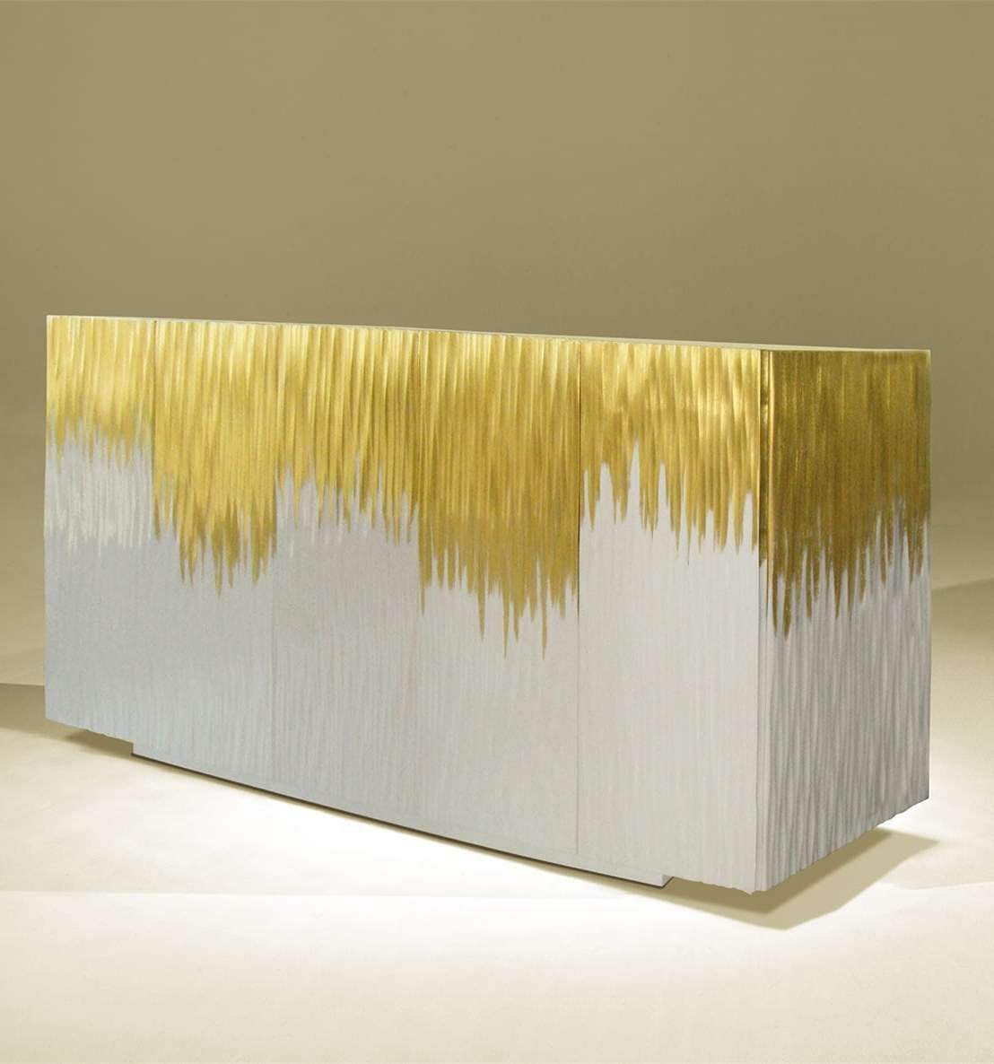 Contemporary Sideboard / Lacquered Wood / White / Golden – Moon Within Gold Sideboards (View 6 of 20)