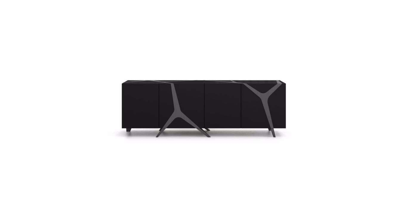 Contemporary Sideboard / Oak / White / Black – Mangrovemarco With Regard To Roche Bobois Sideboards (View 6 of 20)