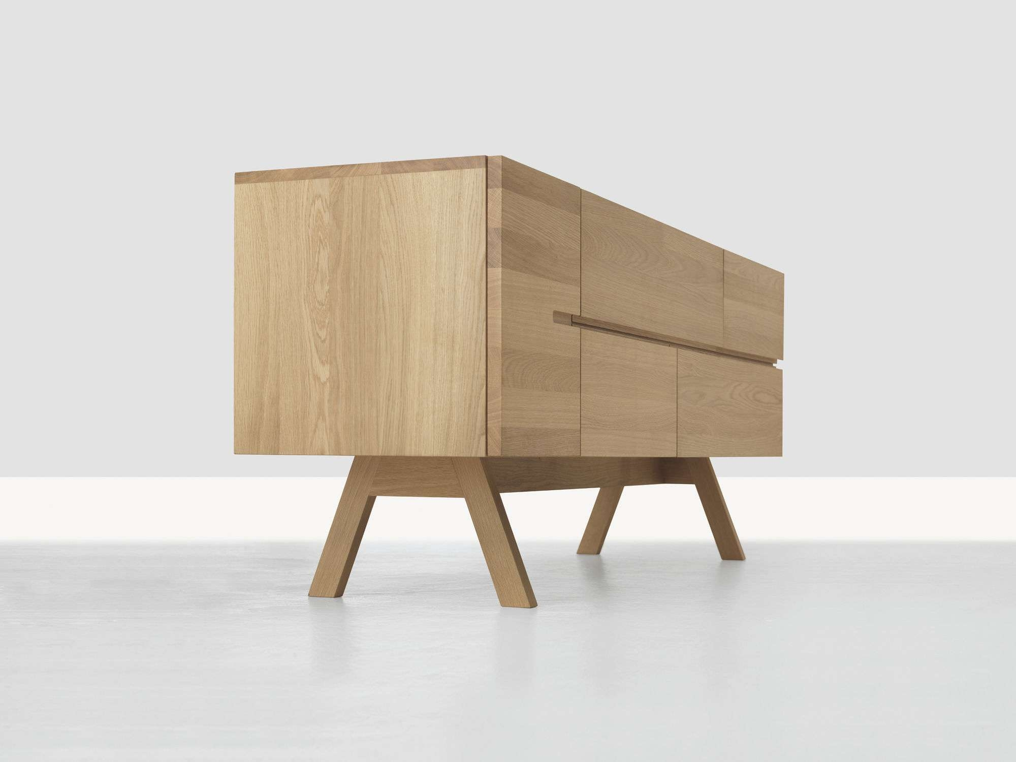 Contemporary Sideboard / Solid Wood – Low Atelierformstelle In Low Wooden Sideboards (View 3 of 20)