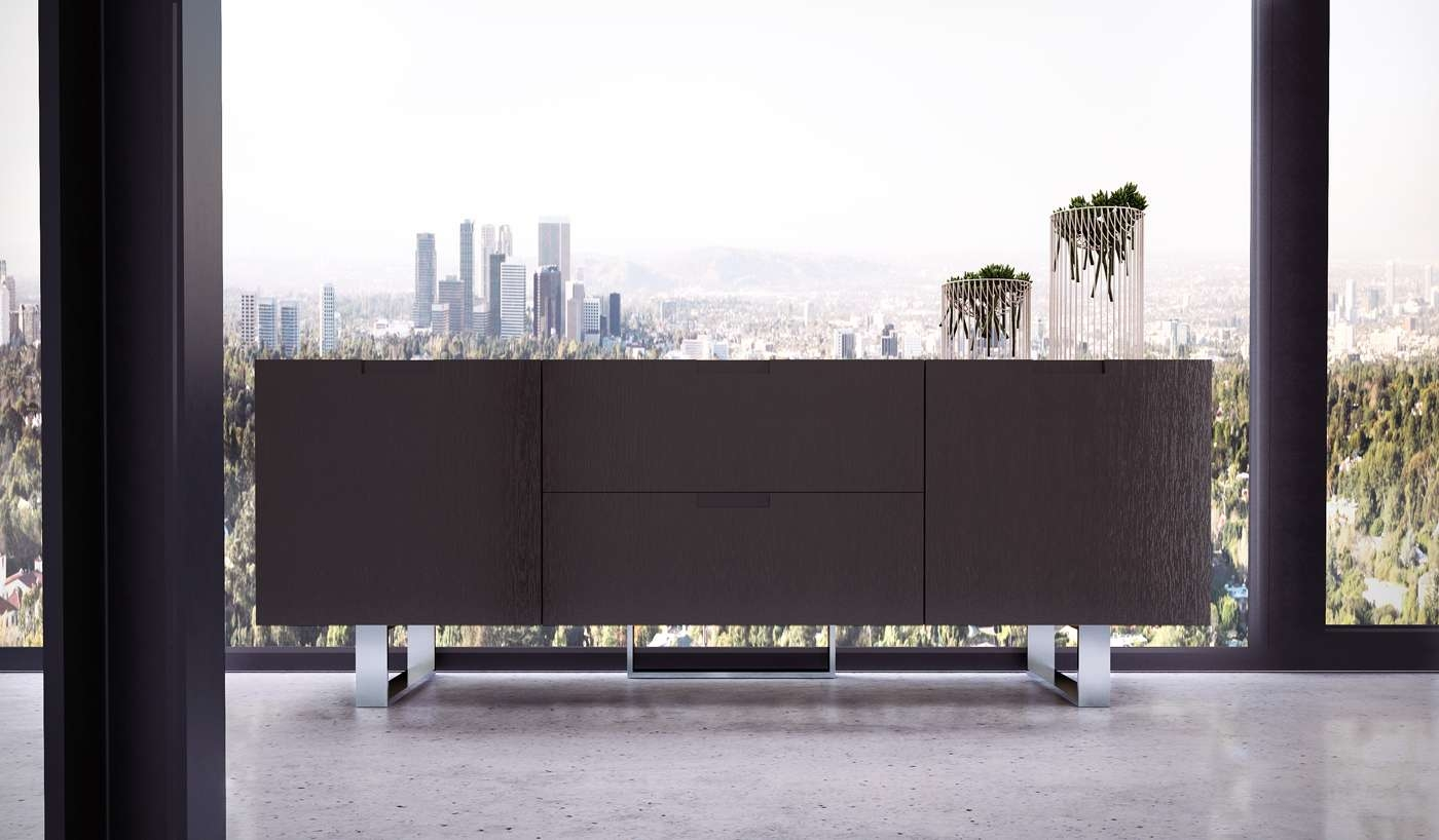 Contemporary Tv Stand In Wenge Walnut Or White Lacquer San Diego For Wenge Tv Cabinets (View 10 of 20)