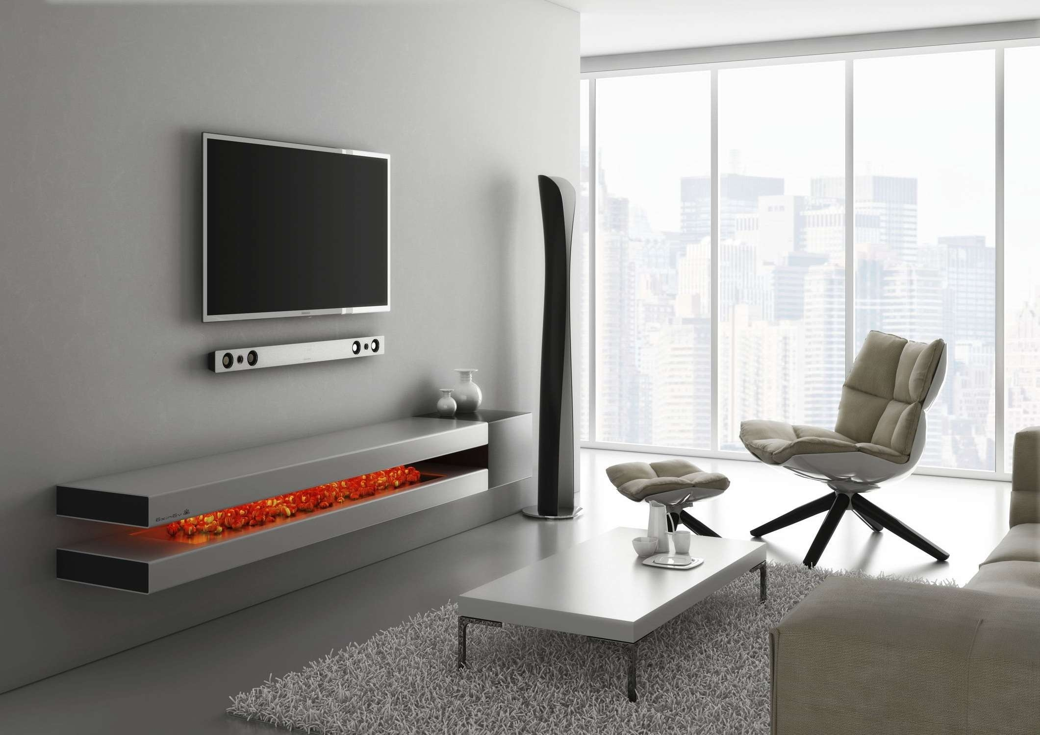 Contemporary White Floating Tv Stands With Media Shelving Attached Inside Under Tv Cabinets (View 5 of 20)