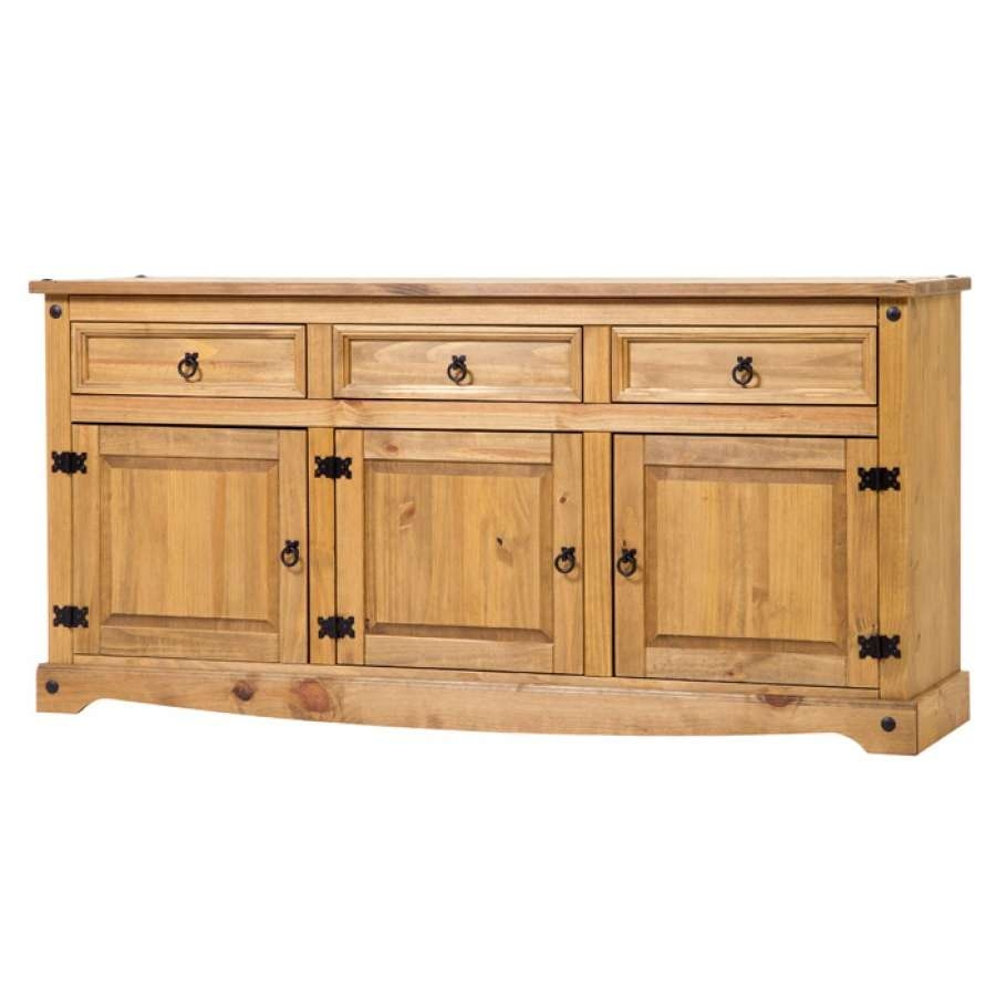 Corona Mexican Pine Large Sideboard | Charlies Direct Throughout Pine Sideboards (View 9 of 20)