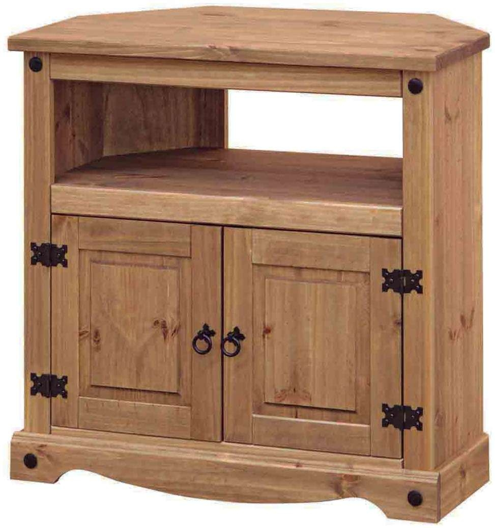 Corona Rustic Dark Wooden Corner Tv Cabinet Unit In Rustic Corner Tv Cabinets (View 8 of 20)