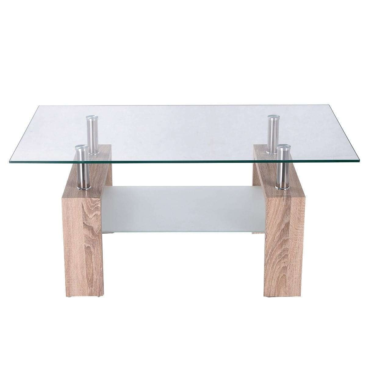 Costway Rectangular Glass Coffee Table Wood W/ Shelf ,tea Table Intended For Most Popular Rectangle Glass Coffee Table (View 9 of 20)