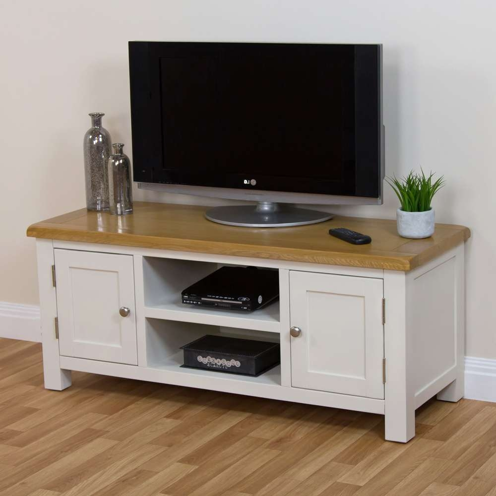 Cotswold Cream Painted Large Widescreen Tv Unit With Oak Top Stand Intended For Cream Tv Cabinets (View 3 of 20)