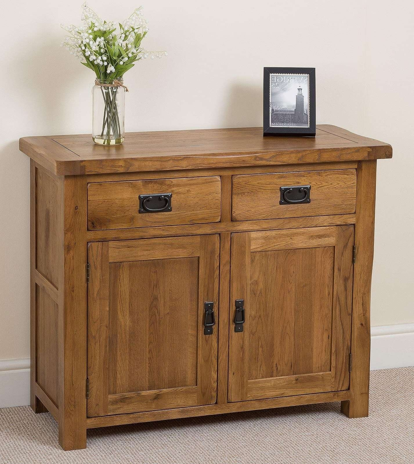 Cotswold Rustic Small Oak Sideboard | Free Uk Delivery With Small Sideboards (View 5 of 20)