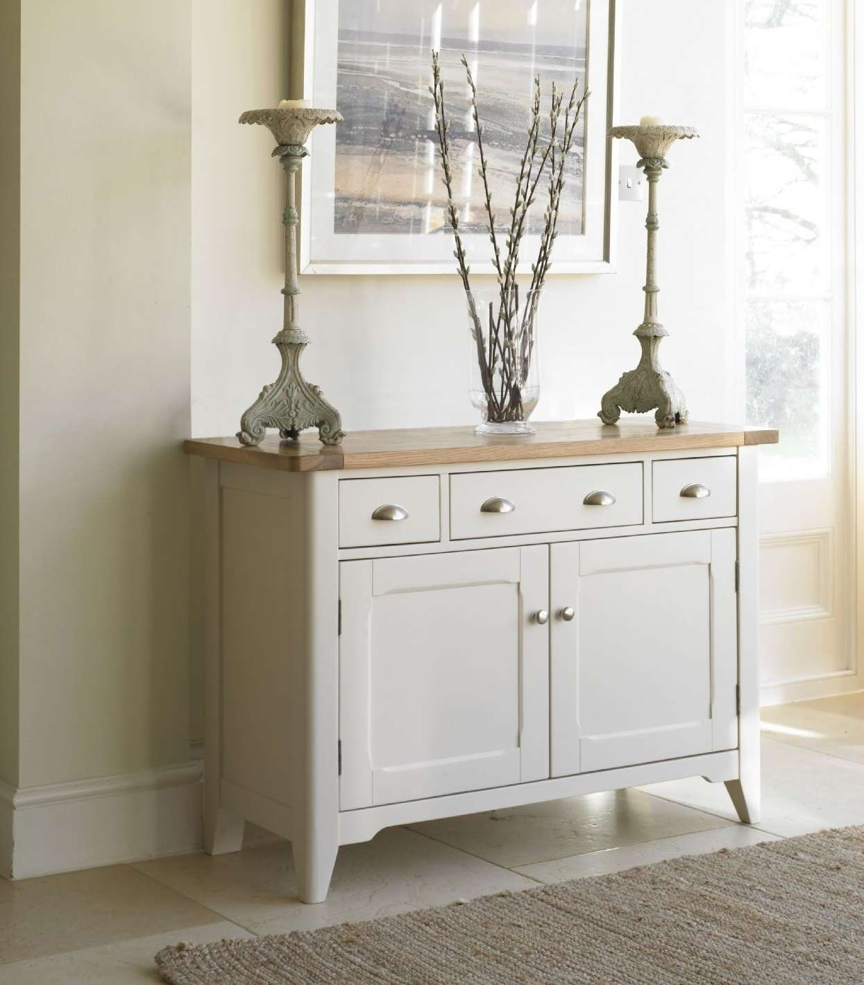 Cottage Oak And Painted Small Sideboard | Oak Furniture Uk Intended For Painted Sideboards (View 3 of 20)