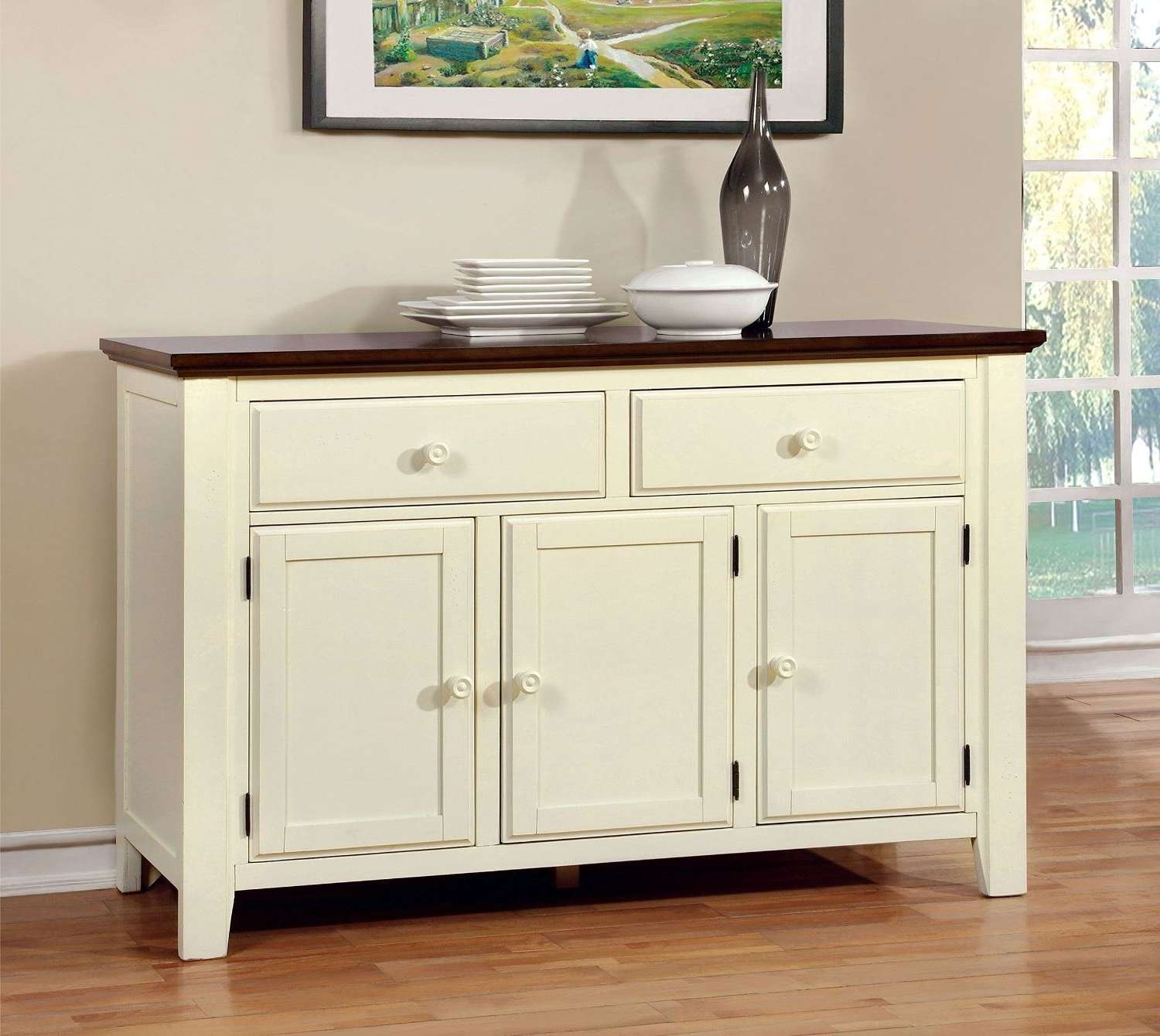 Cottage Style Buffet, Furniture Server America Pauline Cottage Intended For Buffet Sideboards Servers (View 9 of 20)