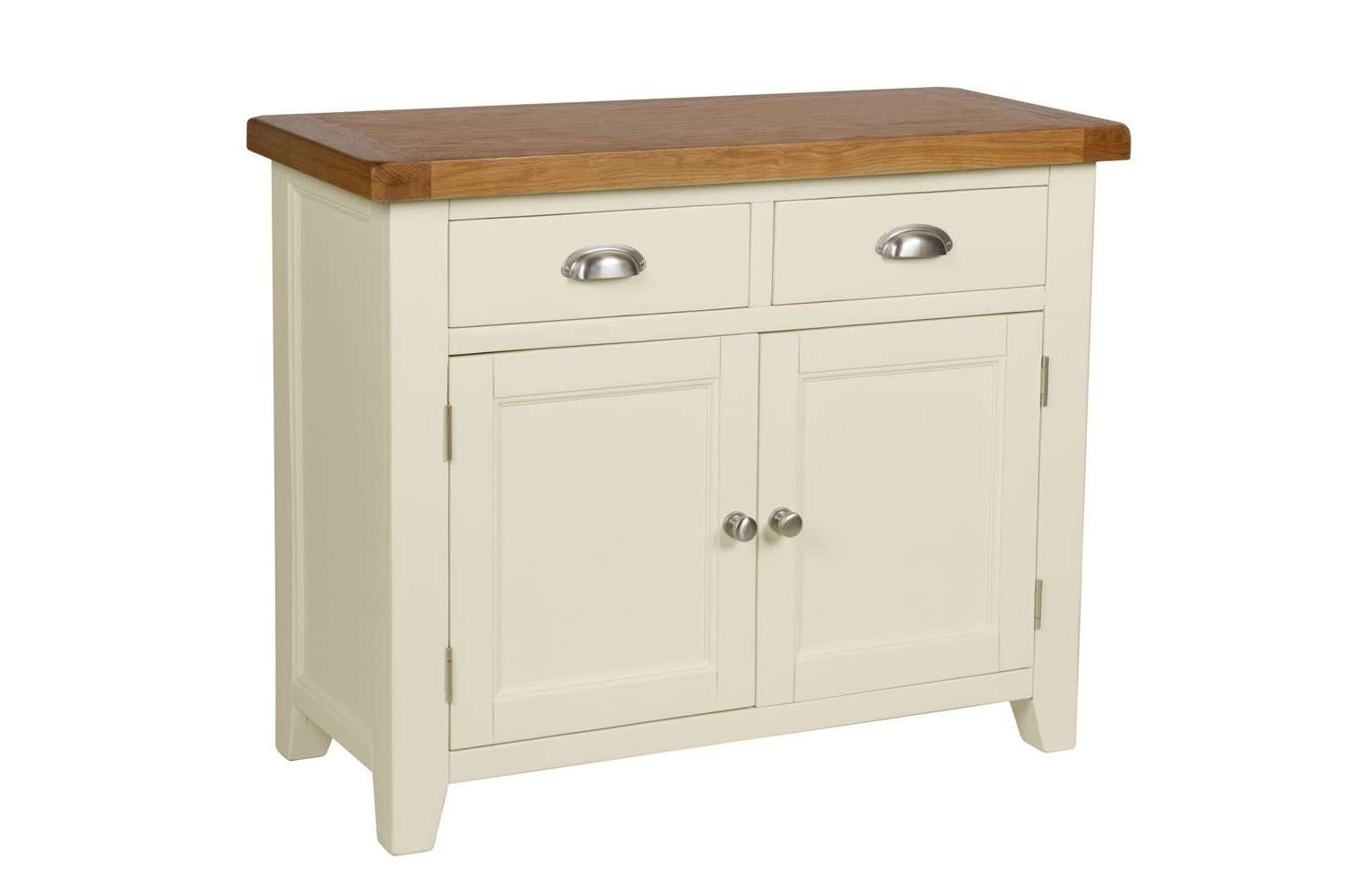 Country Cottage 100cm Cream Painted Oak Sideboard Regarding Painted Sideboards (View 7 of 20)