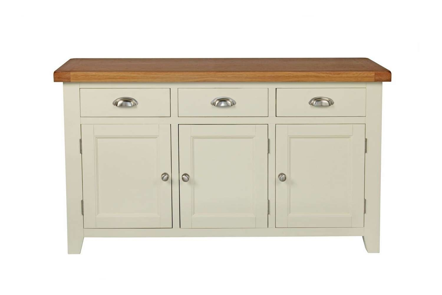 Country Cottage 140cm Cream Painted Large Oak Sideboard Regarding Painted Sideboards (View 15 of 20)