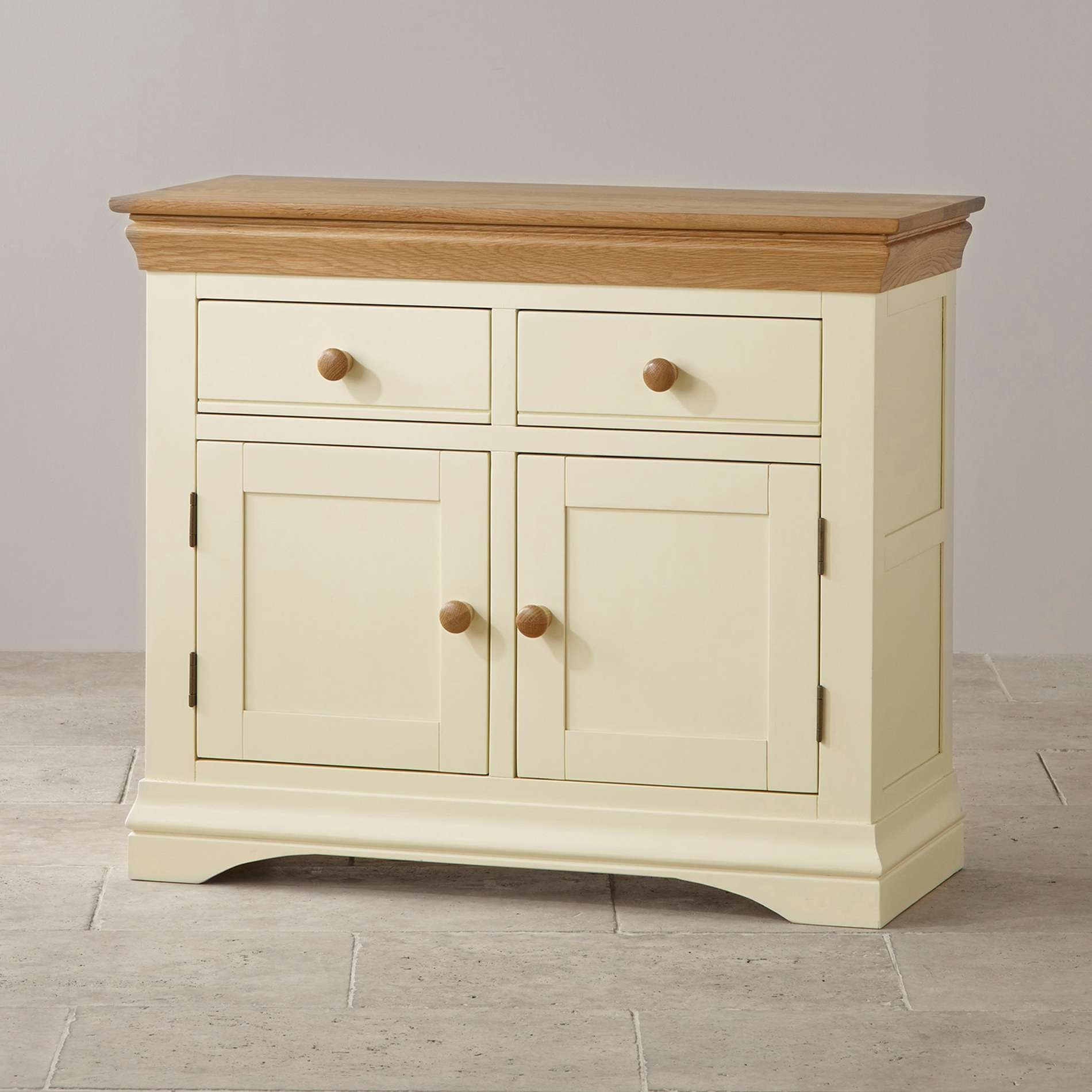 Country Cottage Small Sideboard In Cream Painted Oak Within Cream And Oak Sideboards (View 6 of 20)