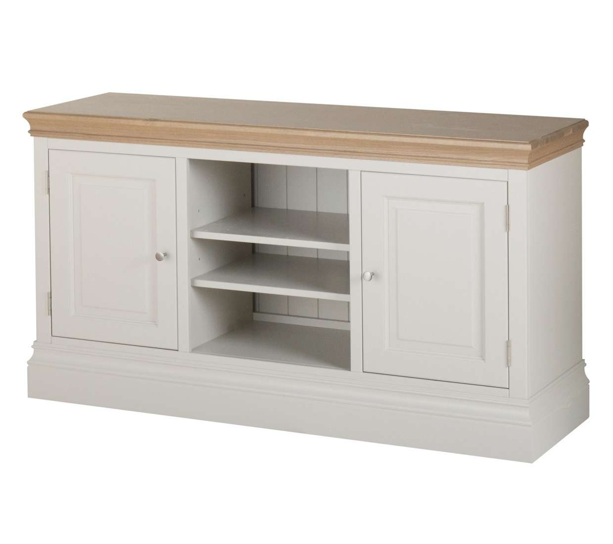 Country Oak And Painted Large Tv Cabinet | Oak Furniture Uk Inside Large Oak Tv Cabinets (View 16 of 20)