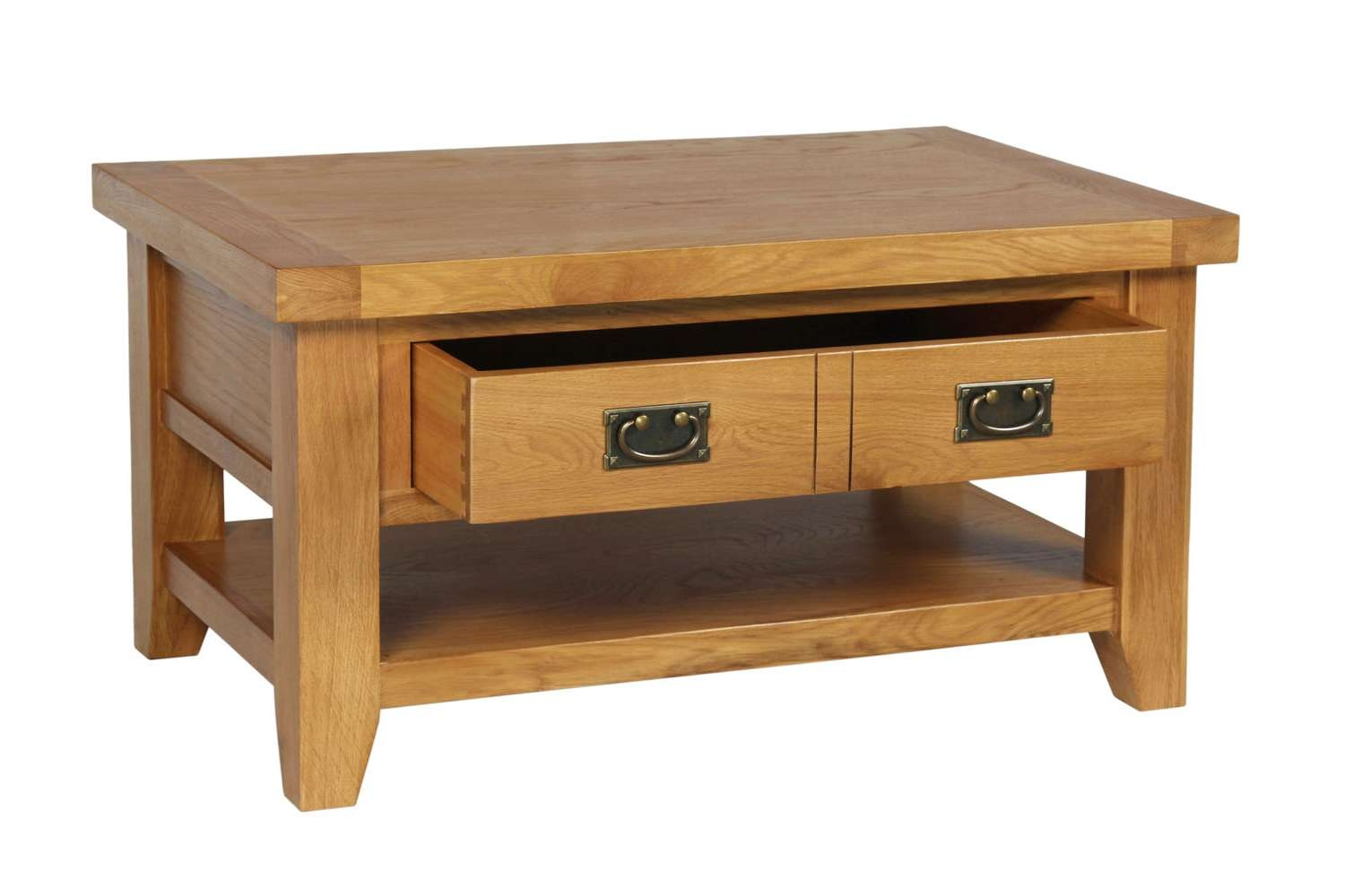Country Oak Coffee Table With Drawer & Shelf Inside Preferred Oak Coffee Tables With Shelf (View 5 of 20)