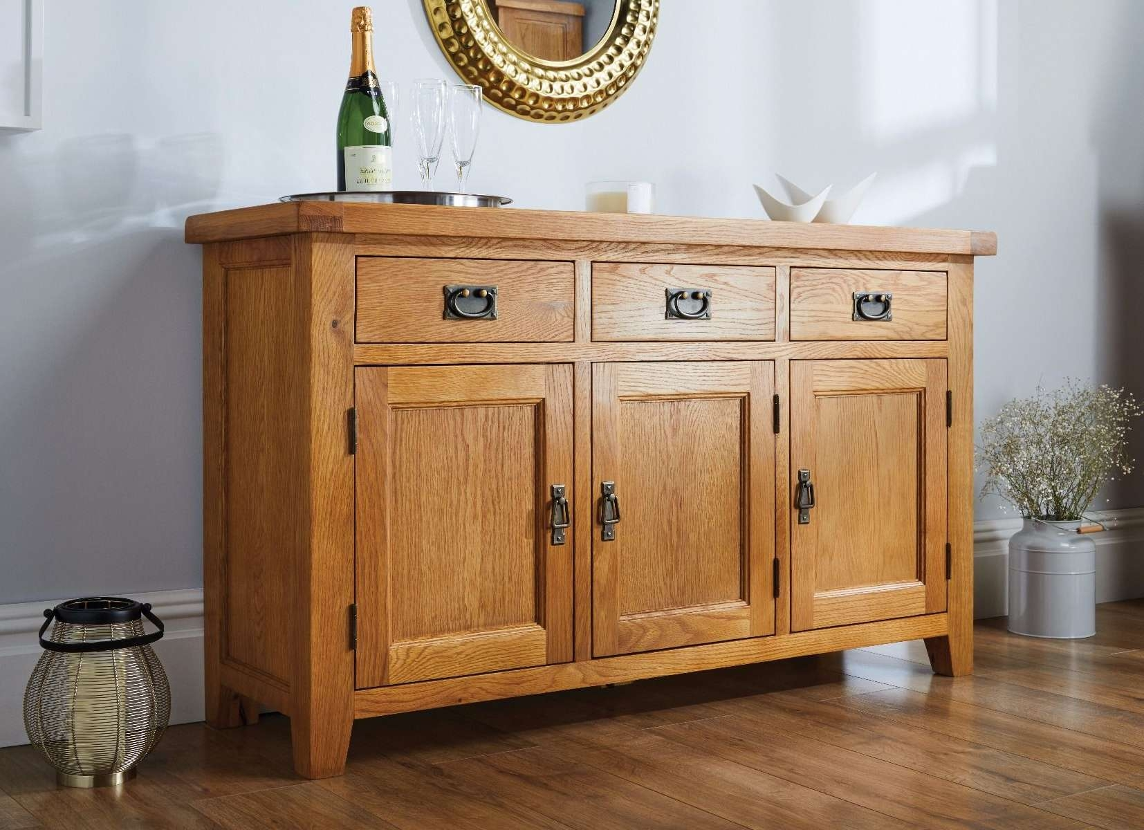 Country Oak Rustic 3 Door Medium Sized Sideboard With Regard To Living Room Sideboards (View 5 of 20)