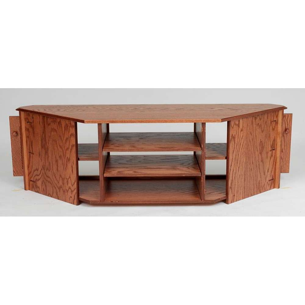 "Country Style Solid Oak Corner Tv Stand W/cabinet – 64"" – The Oak Intended For Country Style Tv Cabinets (View 4 of 20)"