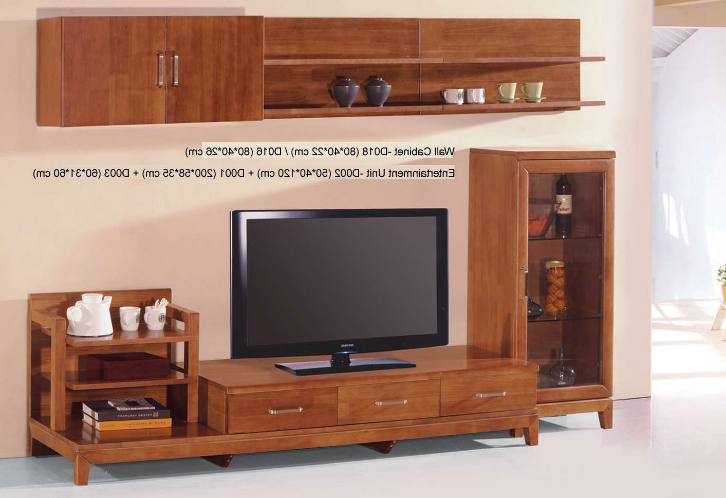 Country Style Tv Stand Unit Idea In Honey Oak Finish With Three Inside Tv Cabinets And Wall Units (View 3 of 20)