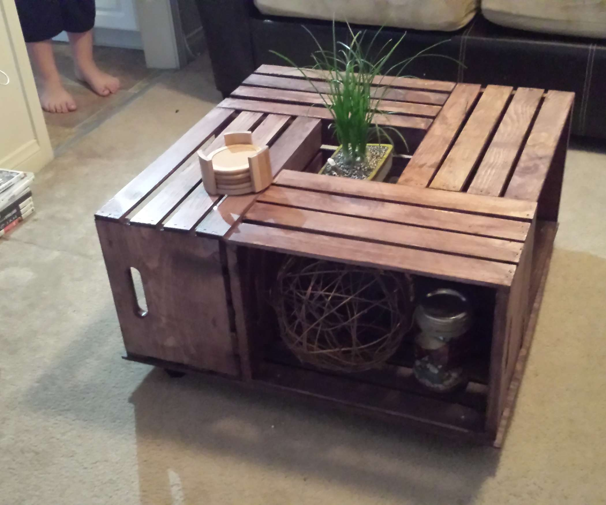 Crate Coffee Table 6 Steps With Regard To Fashionable Cd Storage Tables Gallery